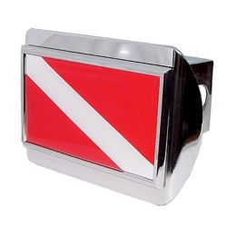 Chrome Dive Flag Trailer Hitch Cover