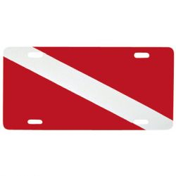 Aluminum Dive Flag License Plate