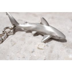 Big Blue Grey Reef Shark Pewter Keychain