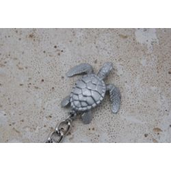 Big Blue Silver Turtle Keychain