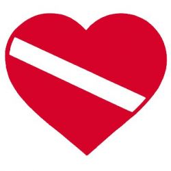 Heart Shaped Dive Flag Sticker