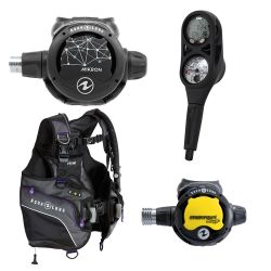 Aqua Lung Pearl BCD SCUBA Package with Mikron Regulator and Octopus, and i300 2 Gauge Console Dive Computer (Women's)