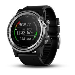 Garmin Descent Mk1 Steel Bezel GPS Compact Wrist Dive Computer and Fitness Smartwatch - Silver Sapphire with Black Band