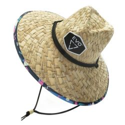 EVO Skipper Straw Lifeguard Hat w/ Cord, One Size For All