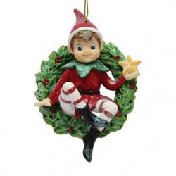 December Diamonds Tree Ornament - Elf with Wreath