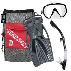 EVO Deluxe Mask, Fins, and Snorkel Combo Package