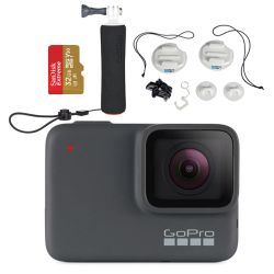 GoPro HERO7 Silver Kit w/ GoPro Surf Bundle and 32GB Micro SD Card