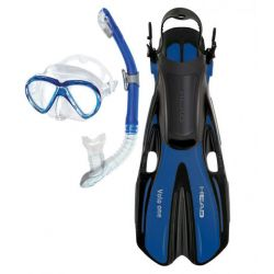 HEAD Marlin Purge Mask, Dry Snorkel, Volo One Fins Snorkel Set for Adults
