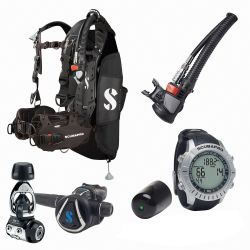 ScubaPro Hydros Pro Modular Travel Scuba Package (Men's) with MK11/C370 Regulator, Air2 Inflator/Octo, M2 Wrist Computer