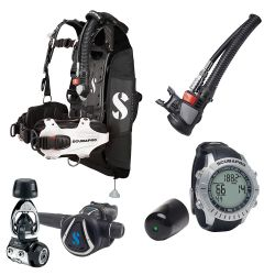 ScubaPro Hydros Pro Modular Travel Scuba Package (Women's) with MK11/C370 Regulator, Air2 Inflator/Octo, M2 Wrist Computer