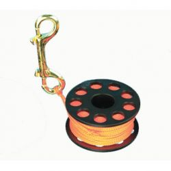 Scuba Diving Finger Reel with Brass Clip - Orange 100'