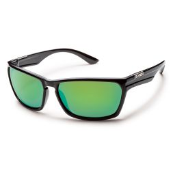 Suncloud Cutout Sunglasses - Black/ Green Mirror