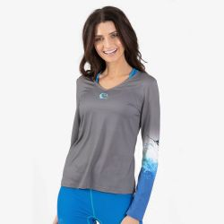 Wave Life Blue Marlin Active Long-Sleeve V-Neck Sun Shirt