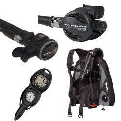 Zeagle Covert BCD Travel SCUBA Package with Atomic B2 Regulator, SS1 Octopus and Suunto Zoop Novo 2 Gauge Console Dive Computer (Men's)