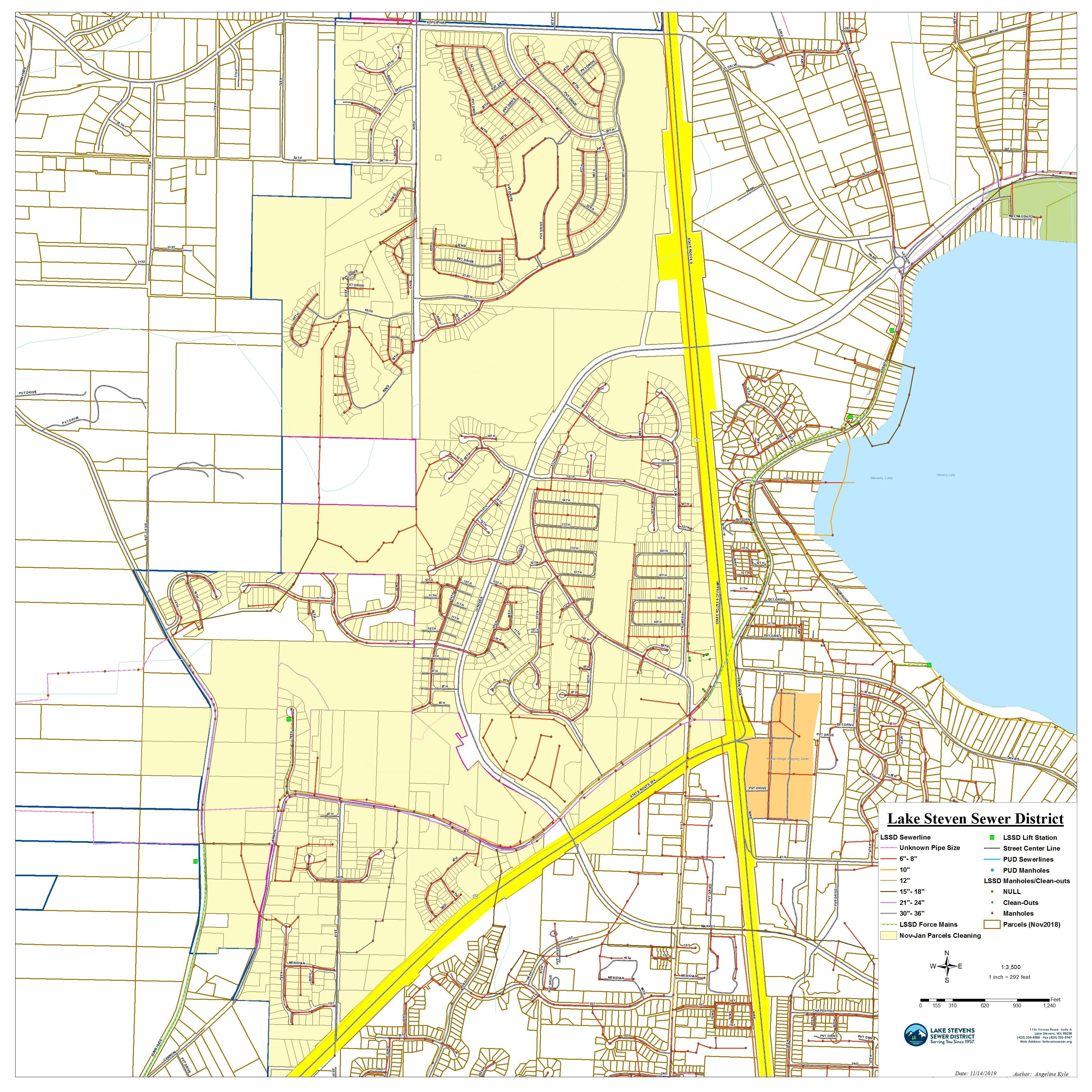 Lake Stevens Sewer Cleaning Map