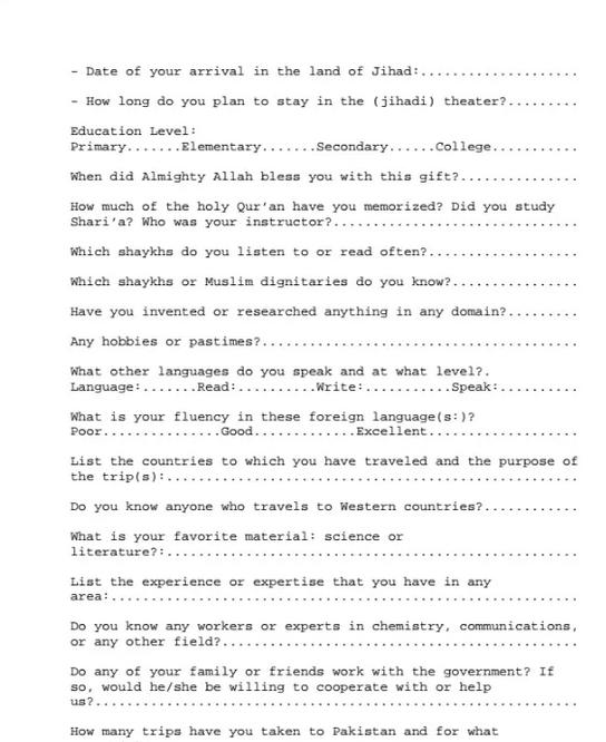Check Out This Real Al Qaeda Job Application. The Last Question ...