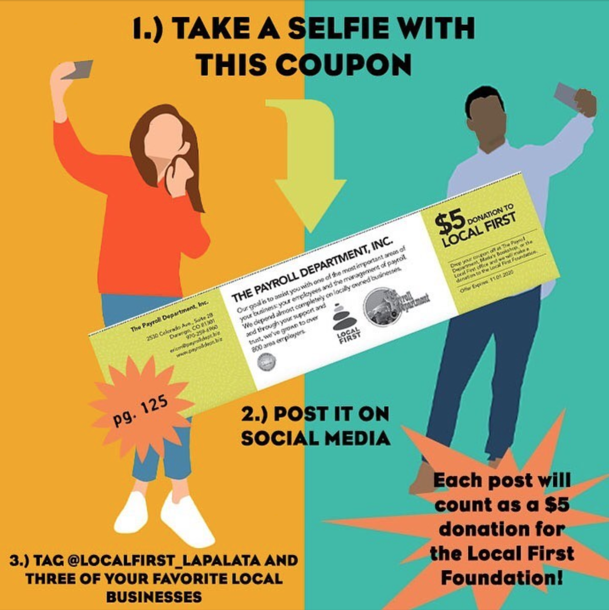 Images of two people taking selfies with the coupon for a $5 donation from the Payroll Department, found on page 125 of the 2020 Be Local Coupon Book.
