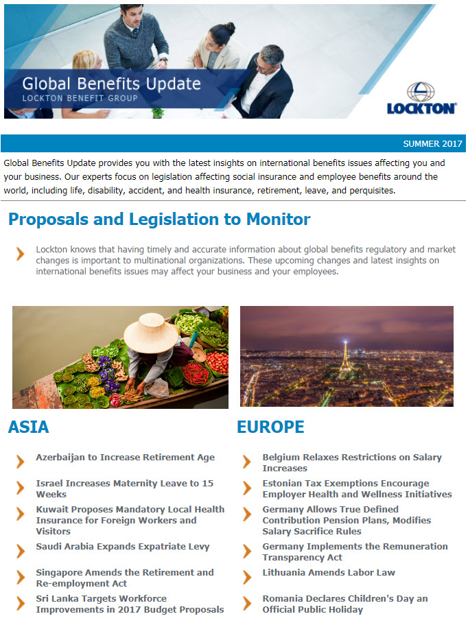 Global Benefits Update Newsletter image