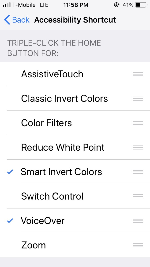 iOS Settings screen for the accessibility (triple-click home) shortcut