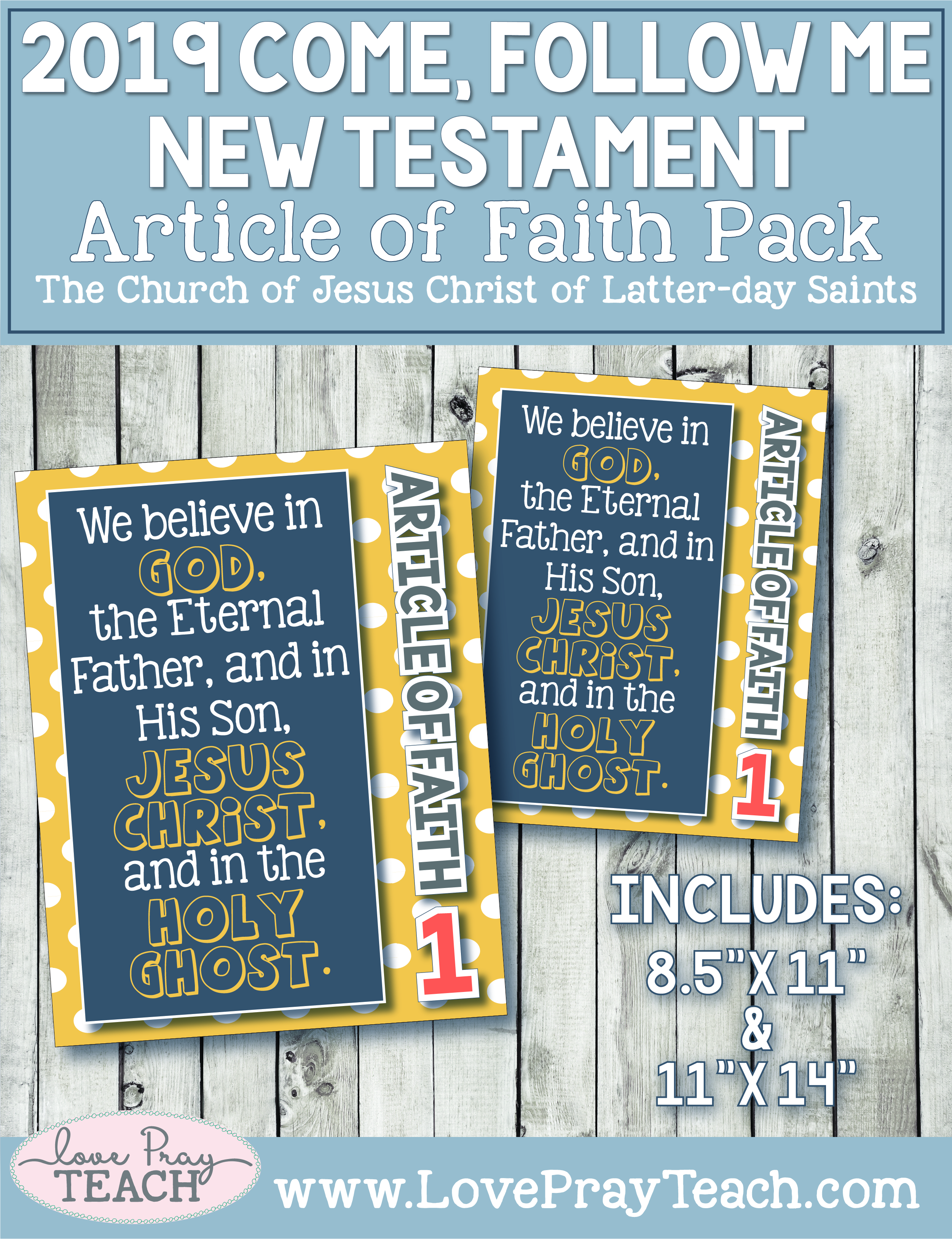 2019 Primary Articles of Faith Posters by www.LovePrayTeach.com
