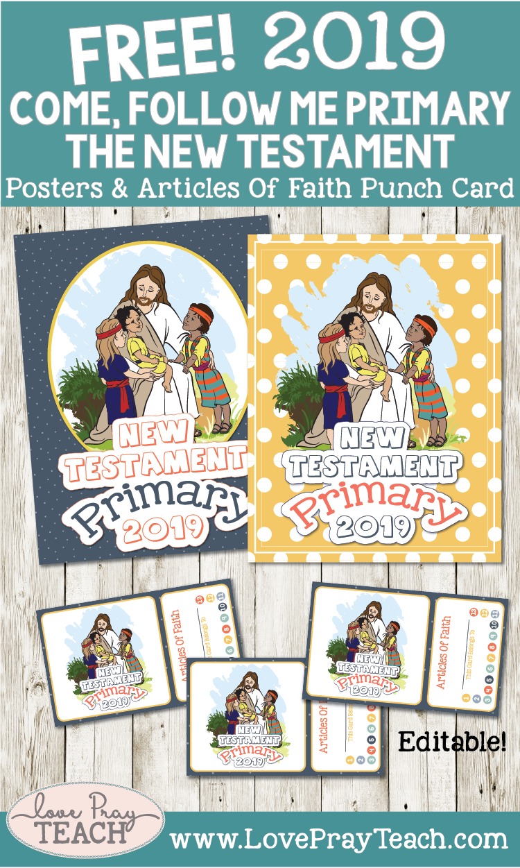 "FREE 2019 Come, Follow Me Primary ""The New Testament"" Posters & Articles of Faith Punch Card"