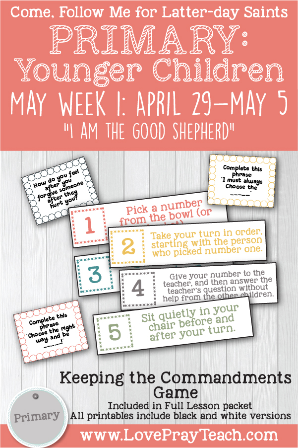 "Come, Follow Me for Primary:  May Week 1: April 29-May 5: John 7-10  ""I Am the Good Shepherd""  YOUNGER CHILDREN www.LovePrayTeach.com"