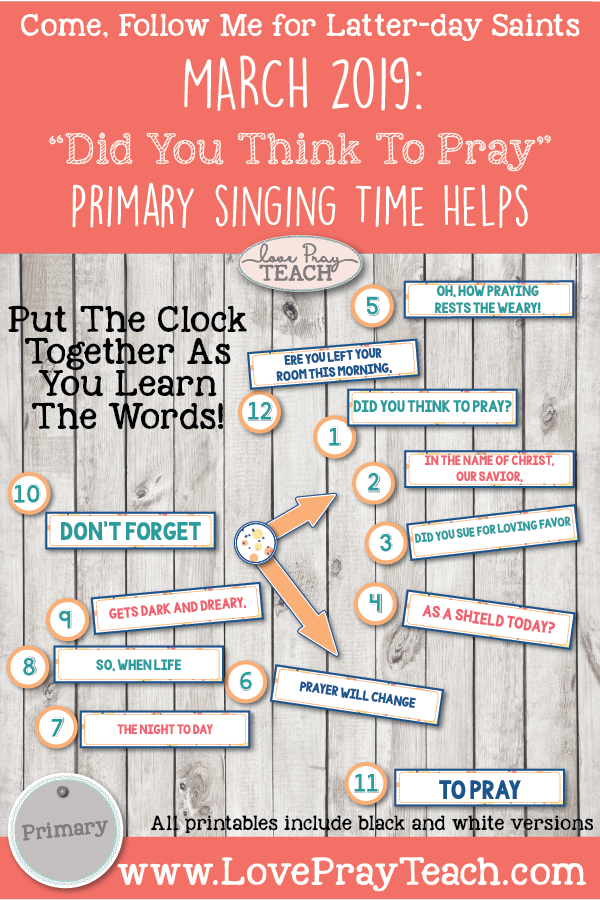 "Come, Follow Me 2019-For Primary- Singing Time Helps March: ""Did You Think To Pray"