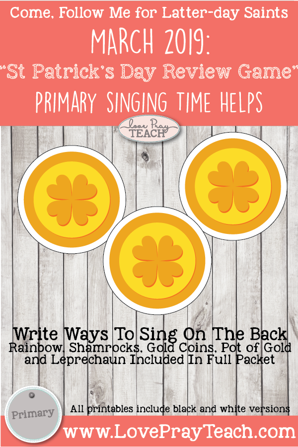 """Come, Follow Me for Primary-2019 March Singing Time: """"St Patrick's Day Review Game"""""""