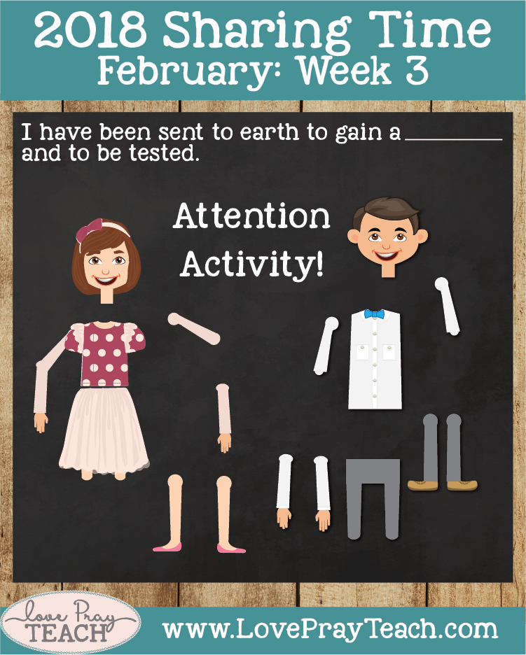 February 2018 Sharing Times Week 3: I have been sent to earth to gain a body and to be tested