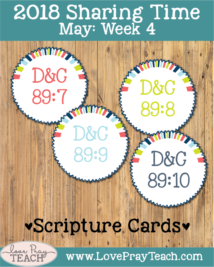 Individual lesson helps packet forMay 2018 Sharing Times Week 4: Prophets teach me to live the Word of Wisdom