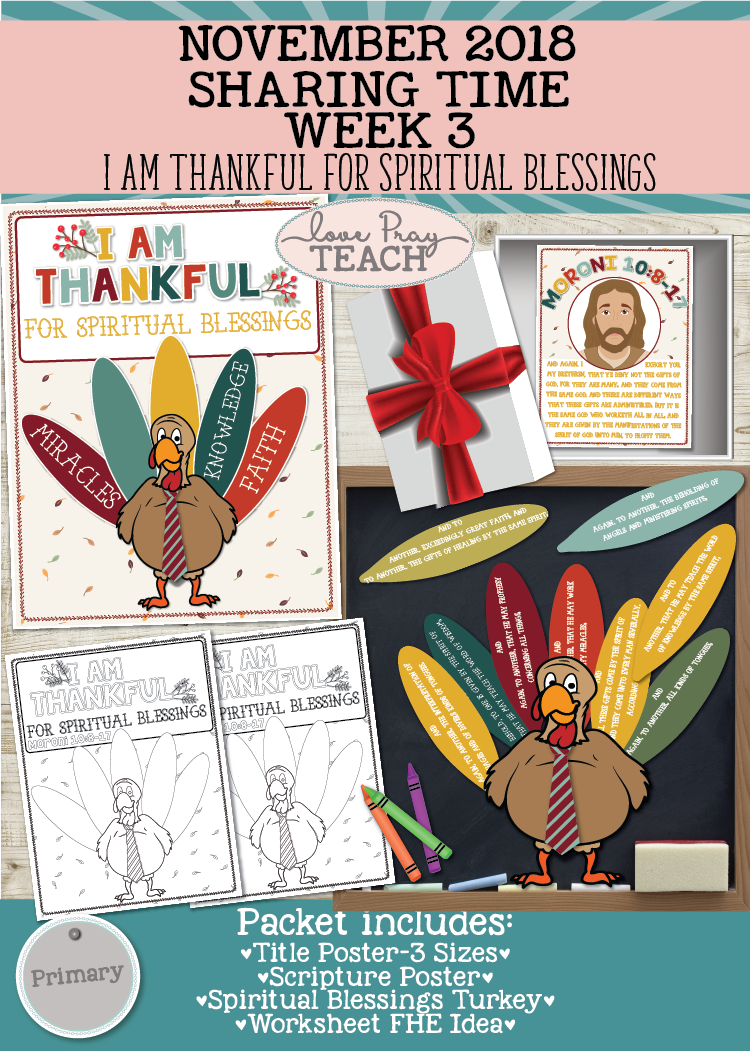 Individual lesson helps packet-November 2018 Sharing Times Week 3: I am thankful for spiritual blessings