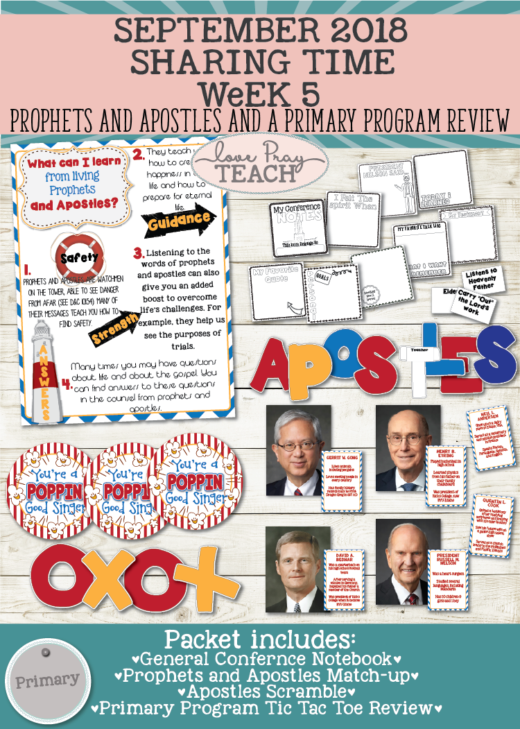 September 2018 Sharing Times Week 5: Prophets and Apostles & Primary Program Review Game and Treat Tag