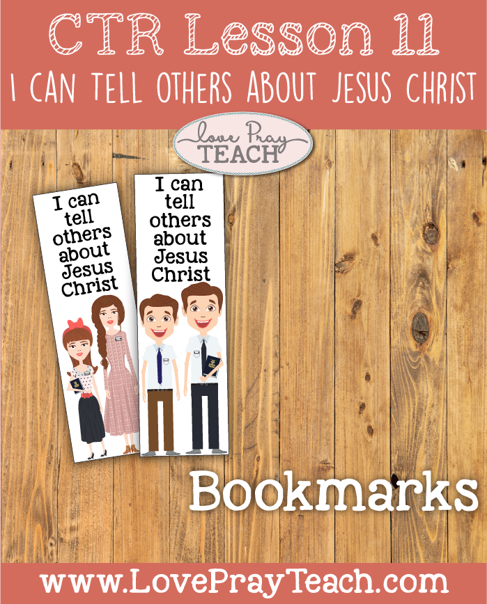 """LDS Primary 2 CTR Lesson 11: """"I Can Tell Others about Jesus Christ"""" Lesson Packet including Role Play Scenarios, Missionary Name Tag, Bookmarks, Coloring Pages, Ring Toss Game, Additional Ideas from the Friend and more! www.LovePrayTeach.com"""