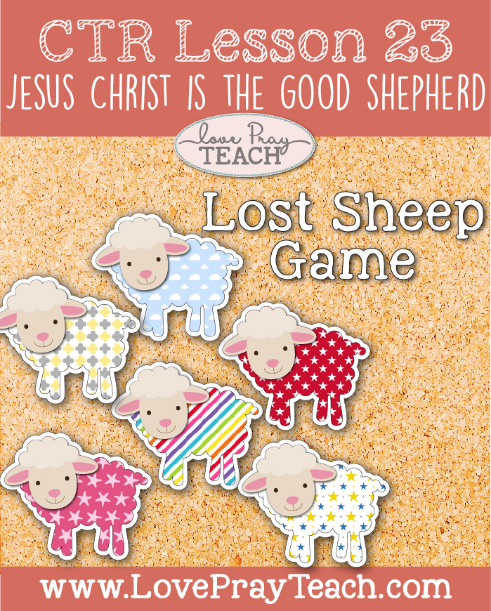 """LDS Primary 2 CTR Lesson 23: """"Jesus Christ Is the Good Shepherd"""" Lesson Packet including Puzzle Outline, Crossword, """"We missed you"""" Cards, Lost Sheep Game, Coloring Page, Additional Ideas from the Friend and more! www.LovePrayTeach.com"""