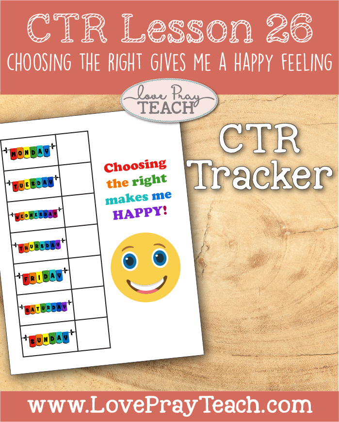 """LDS Primary 2 CTR Lesson 26: """"Choosing the Right Gives Me a Happy Feeling"""" Lesson Packet including CTR Game & Pieces, CTR Tracker, Stick Puppets, Board-Strip, Coloring Page, The Prodigal Son Video Link Additional Ideas from the Friend and more! www.LovePrayTeach.com"""