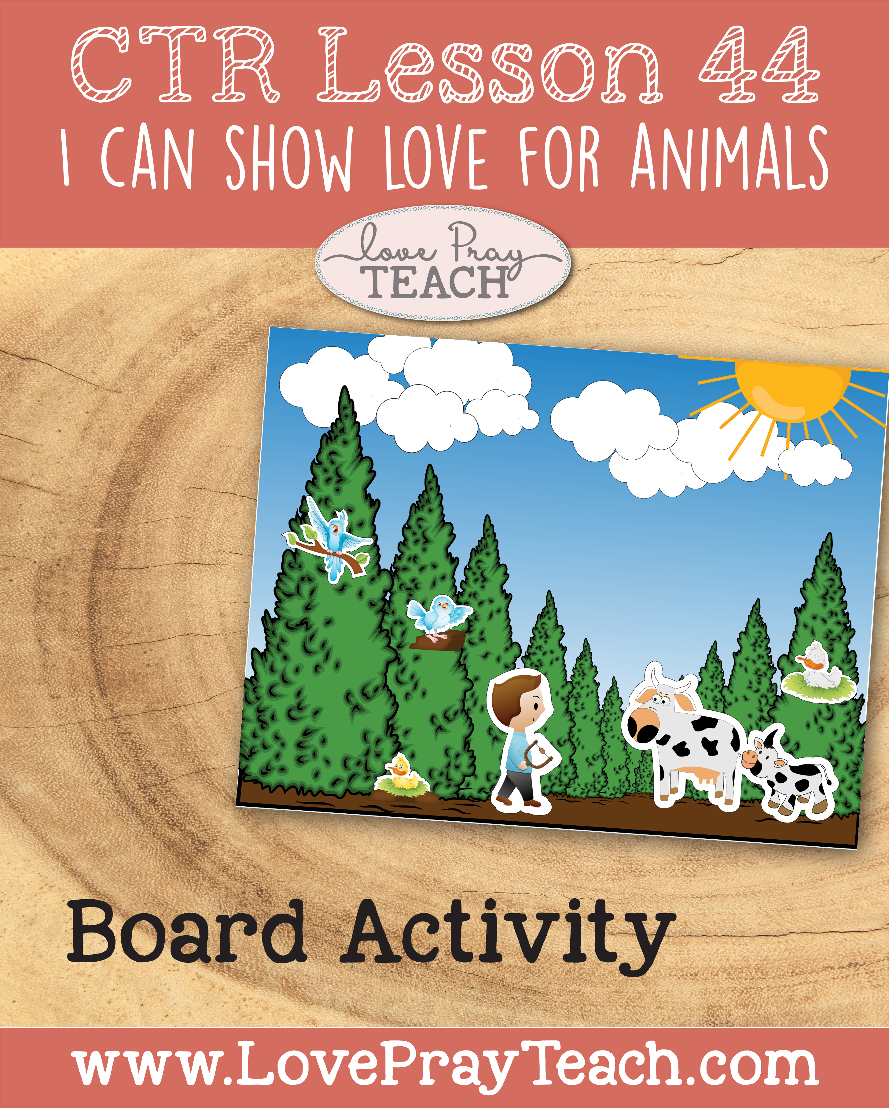 "LDS Primary 2 CTR Lesson 44: ""I Can Show Love for Animals"" Lesson Packet including Matching Game, Noah's Ark, Board Activity, Charade Cards, Coloring Activities, Additional Ideas from the Friend and more! www.LovePrayTeach.com"