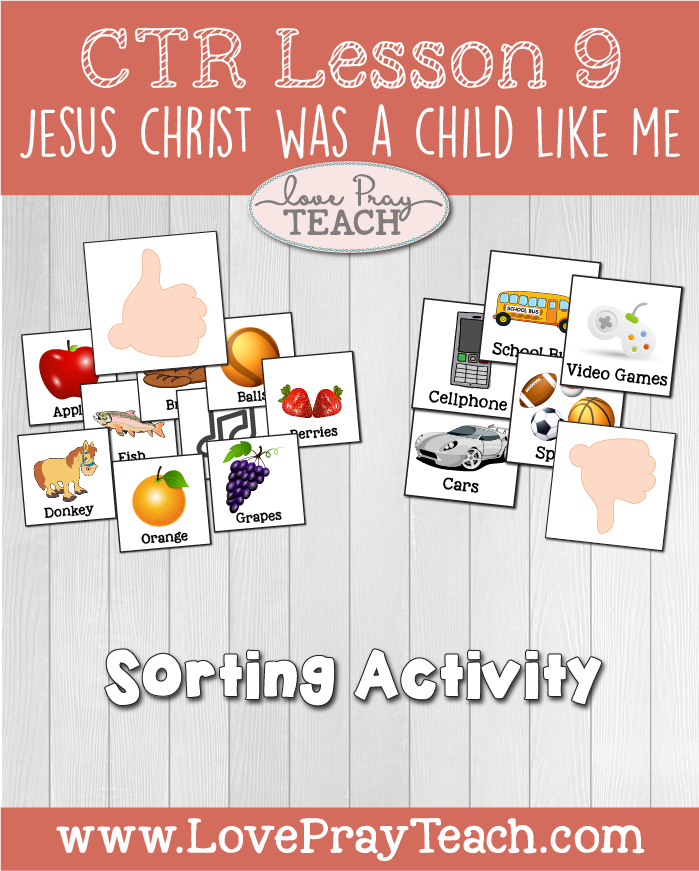 "LDS Primary 2 CTR Lesson 9: ""Jesus Christ was a Child like Me"" Lesson Packet including Coloring Page, Sorting Activity,DIY Scrolls, Baby Item Cutouts, Additional Ideas from the Friend and more! www.LovePrayTeach.com"