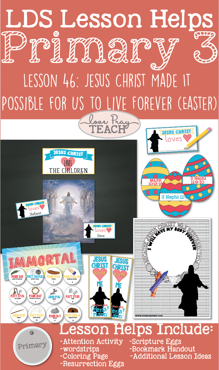 LDS Primary 3 Lesson Helps including coloring pages, teaching ideas, game ideas, and printable's