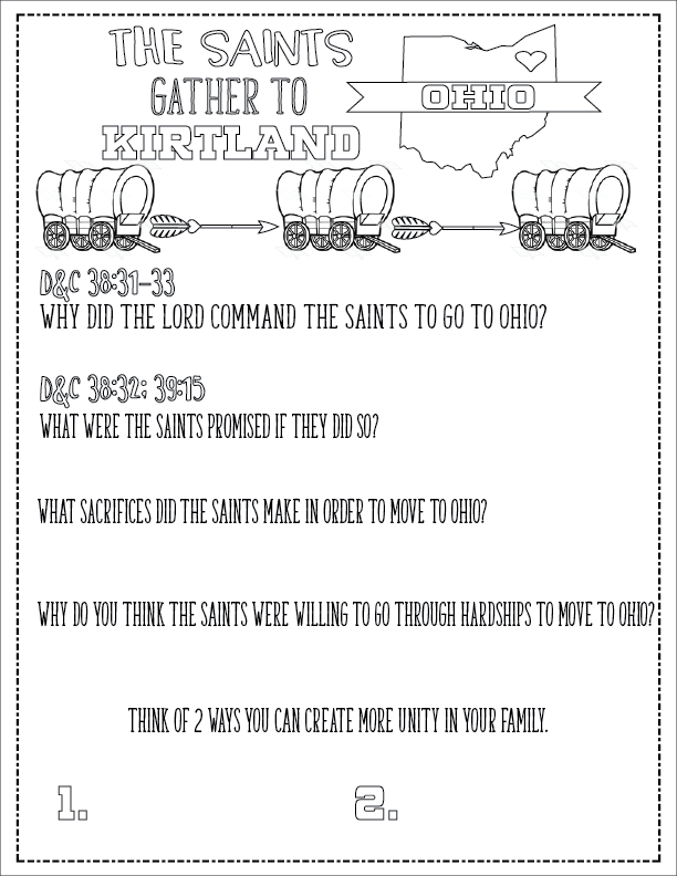 Lesson Helps for Primary 5 Lesson 16: The Saints Gather to Kirtland, Ohio