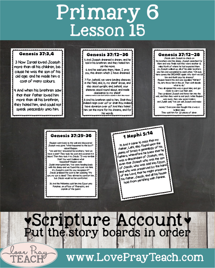 Lesson helps, ideas and printables forPrimary 6 Lesson 15: Joseph Was Sold into Egypt