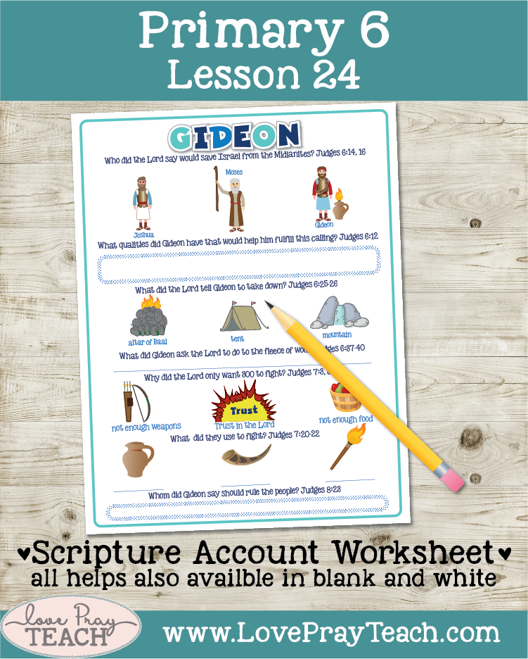 Lesson ideas and printable lesson helps forPrimary 6 Lesson 24: Gideon