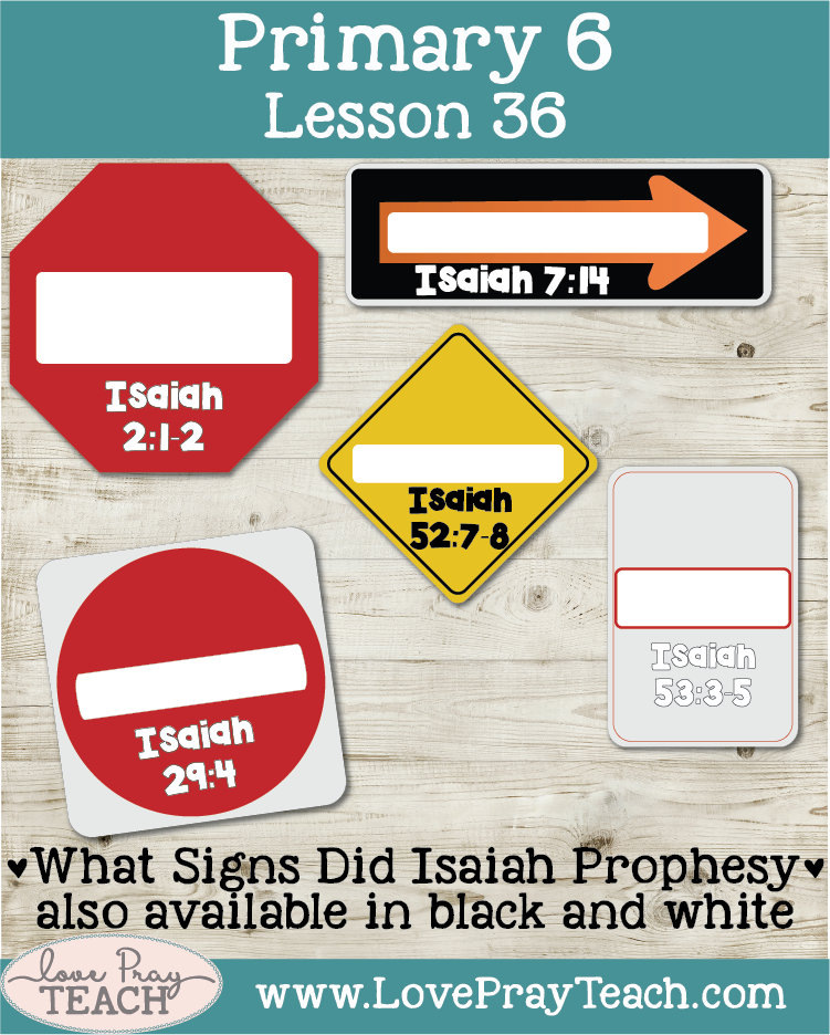 Lesson helps packet for Primary 6 Lesson 36: The Prophet Isaiah