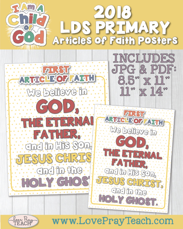 2018 Primary Articles of Faith Posters by www.LovePrayTeach.com