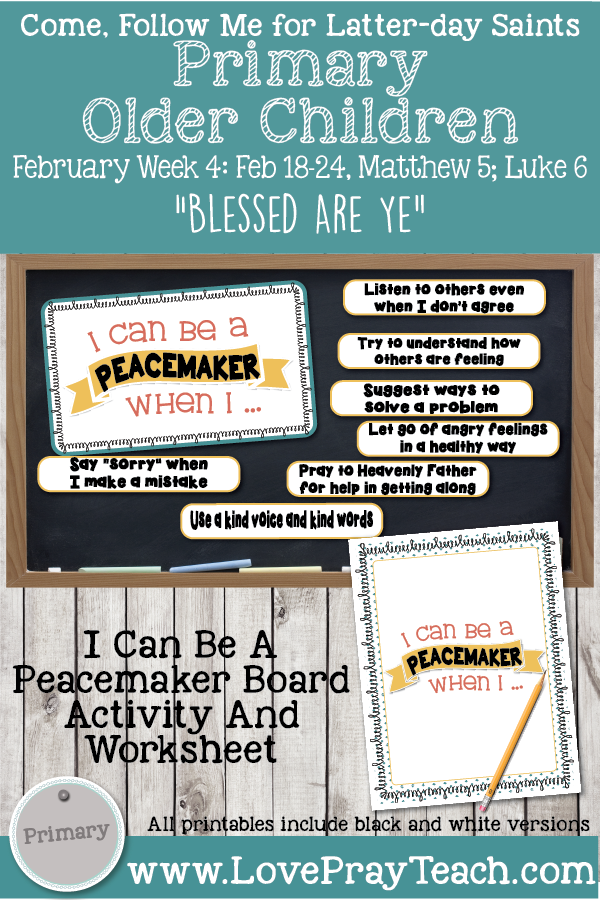 """Lesson Packet For Come, Follow Me for Primary: February 18-24 Week 4: Matthew 5; Luke 6-""""Blessed Are Ye"""" OLDER CHILDREN"""