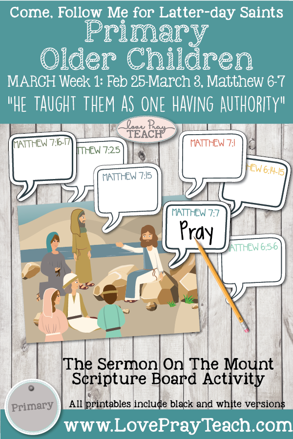 "Come, Follow Me for Primary March Week 1 Older Children: February 25–March 3, Matthew 6–7-""He Taught Them as One Having Authority"""