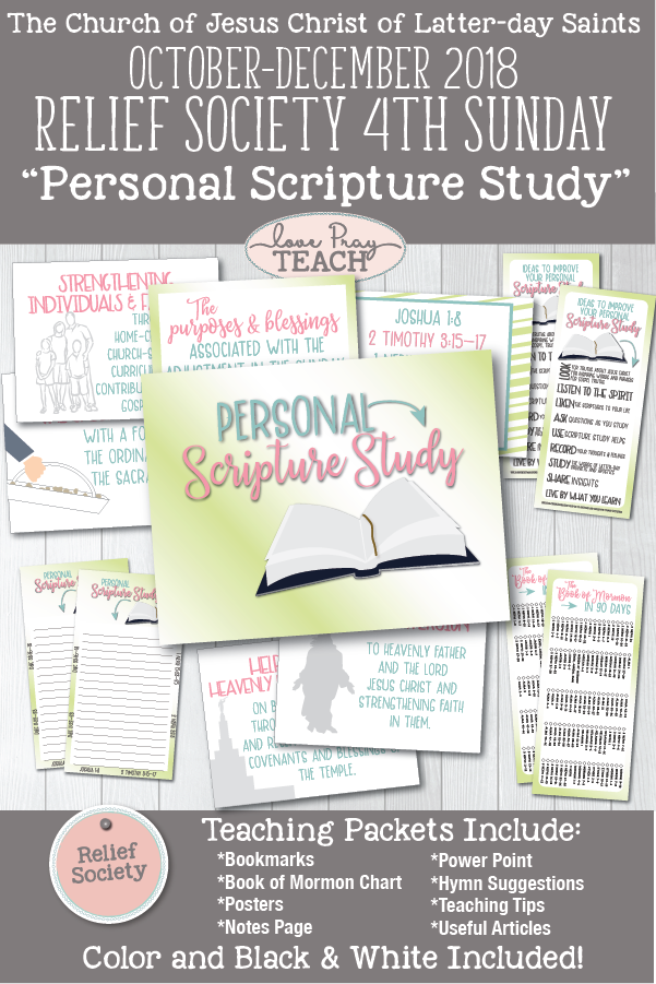 """Personal Scripture Study"" Relief Society 4th Sunday Printable Lesson Packet for Latter-day Saints including handouts, bookmarks, scripture reading chart, powerpoint, notes pages, object lesson, and more! www.LovePrayTeach.com"
