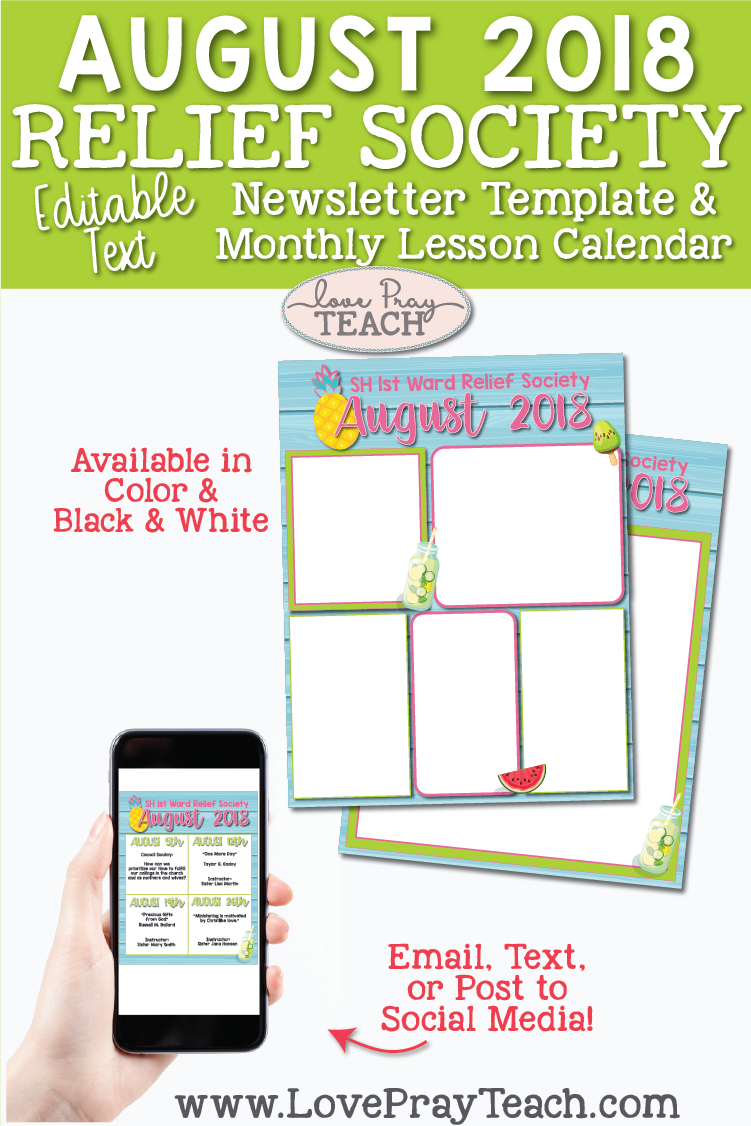 Relief Society newsletter template and lesson schedule calendar on www.LovePrayTeach.com
