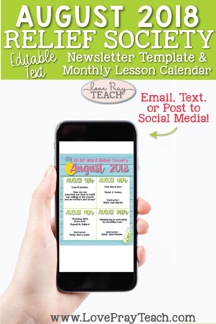 August 2018 LDS Relief Society lesson schedule calendar | Email, text, or post to social media!  www.LovePrayTeach.com