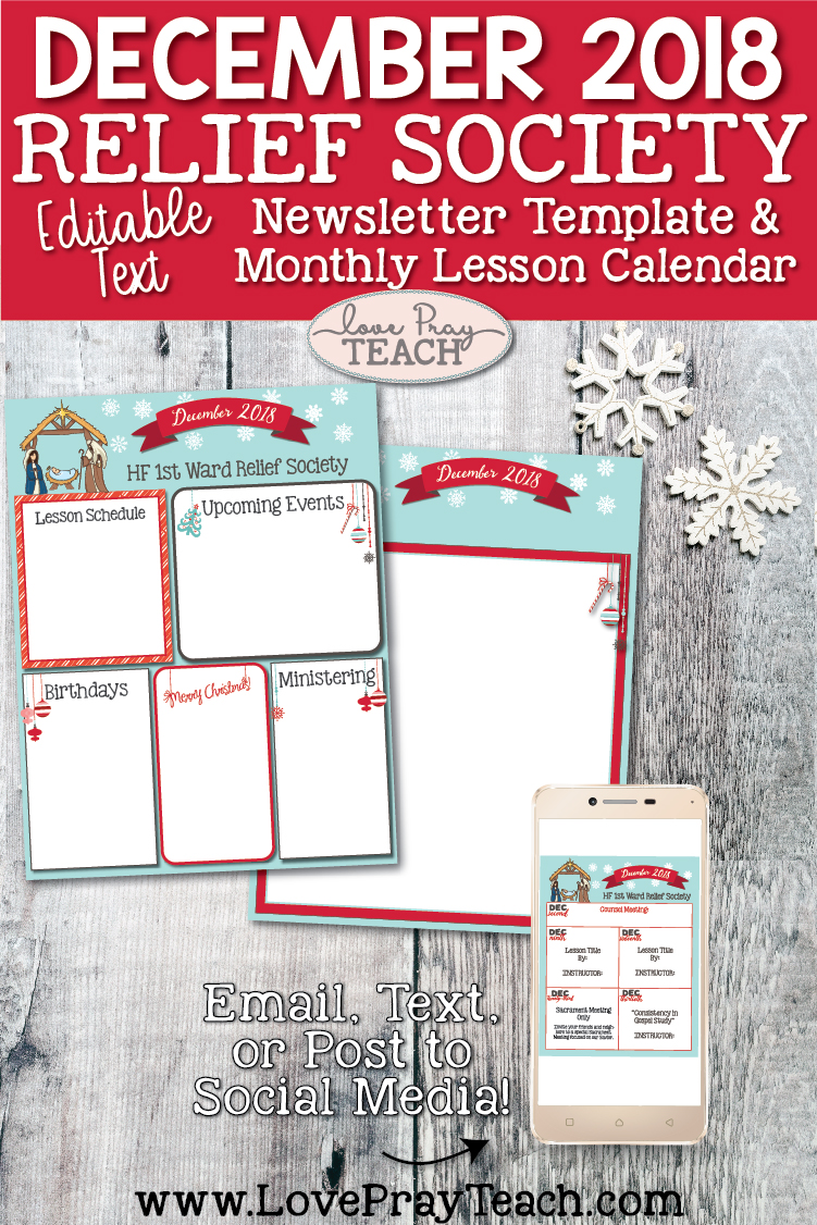 December 2018 Editable Newsletter Template and Lesson Schedule Calendar for Latter-day Saints Relief Society  www.LovePrayTeach.com