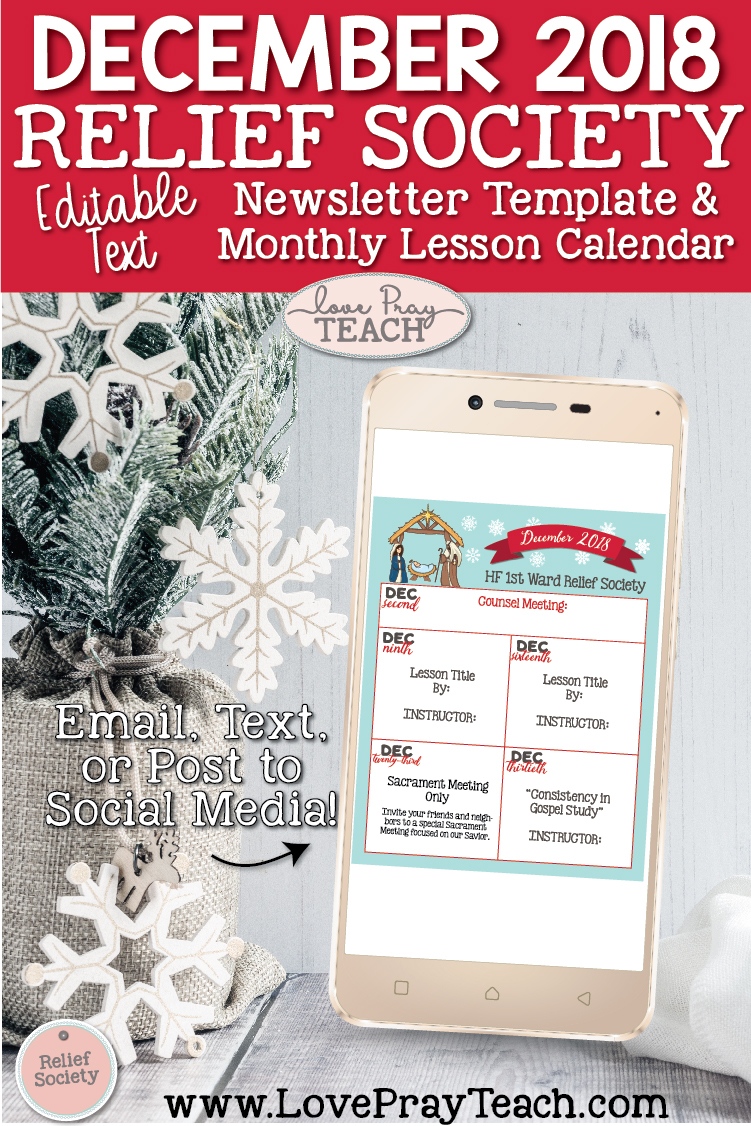 December 2018 Editable Newsletter Template and Lesson Schedule Calendar for Latter-day Saints Relief Society